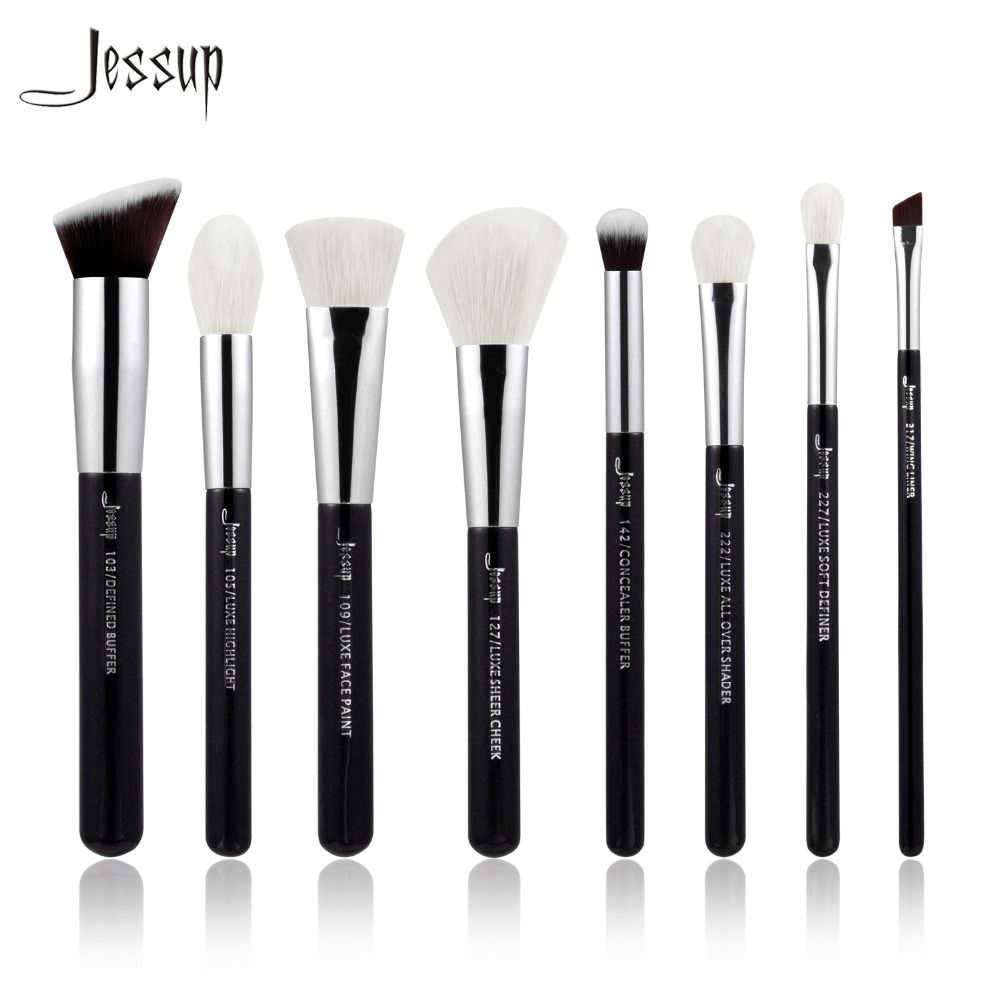 2017 new Jessup Black/Silver Professional Makeup Brushes Set Beauty Tools Make up Brush Buffer Paint Cheek Highlight Shader line jessup 14pcs black silver high quality pro makeup brushes set beauty tools make up brush cosmetic kits t132