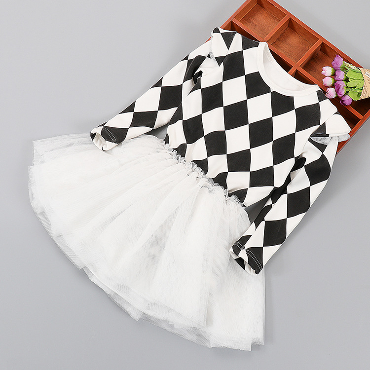 Cross-border specifically for foreign trade children's clothing INS section 2018 spring new black and white grid gauze dress