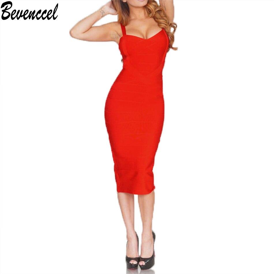 2019 New Summer Dress Women Yellow White Black Red Beige Sleeveless Cross Knee Length Midi Bodycon Bandage Dress Party Dress