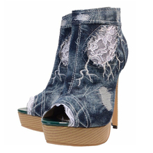 Denim Ankle Boots Large Size Autumn Spring Fashion Peep Toe High Heel Woman Zipper Short Boots Big Size 34-46 TL-A0237