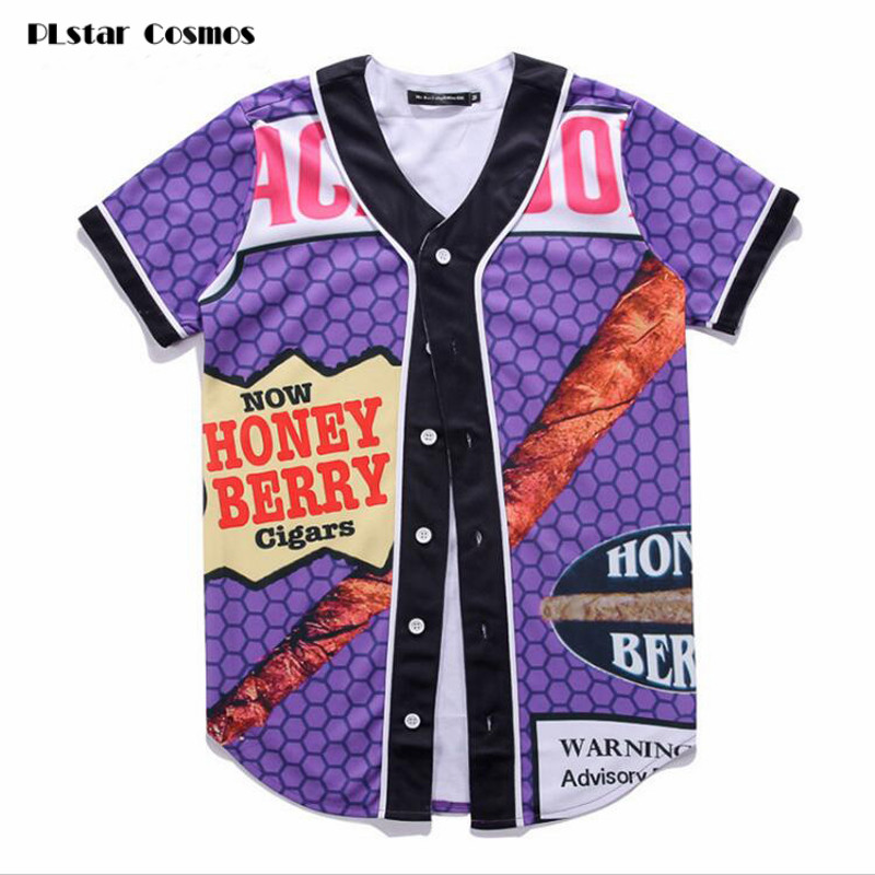 PLstar Cosmos 3D T Shirt Summer Style Hip Hop men T Shirt Backwoods Honey Berry Blunts Unisex Baseball Uniform Couple Shirt
