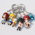 6Pcs/Set Fairy Tail Figure Character With Keychain Pendant PVC Dolls Toys Great Gift 6cm Approx