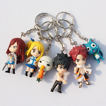 6Pcs Set Fairy Tail Figure Character With Keychain Pendant PVC Dolls Toys Great Gift 6cm Approx