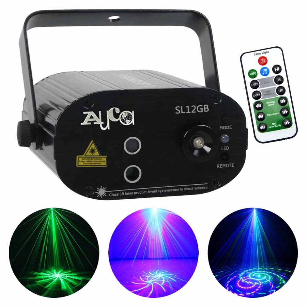 Mini Portable 12 Big Gobos GB Color Music Luces Laser 3W Blue LED Background Projector Lights DJ Party Show Club Stage Lighting