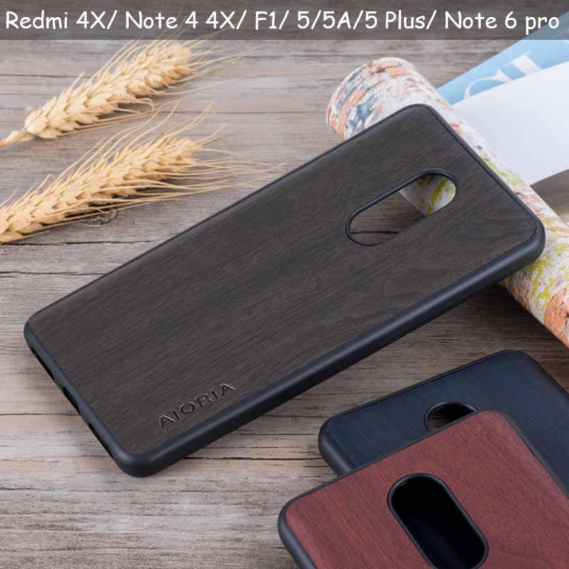 Vintage case for Xiaomi Redmi note 4 4X Pocophone F1 5A 5 Plus soft TPU &wood PU leather skin covers coque fundas Note 5 6 pro