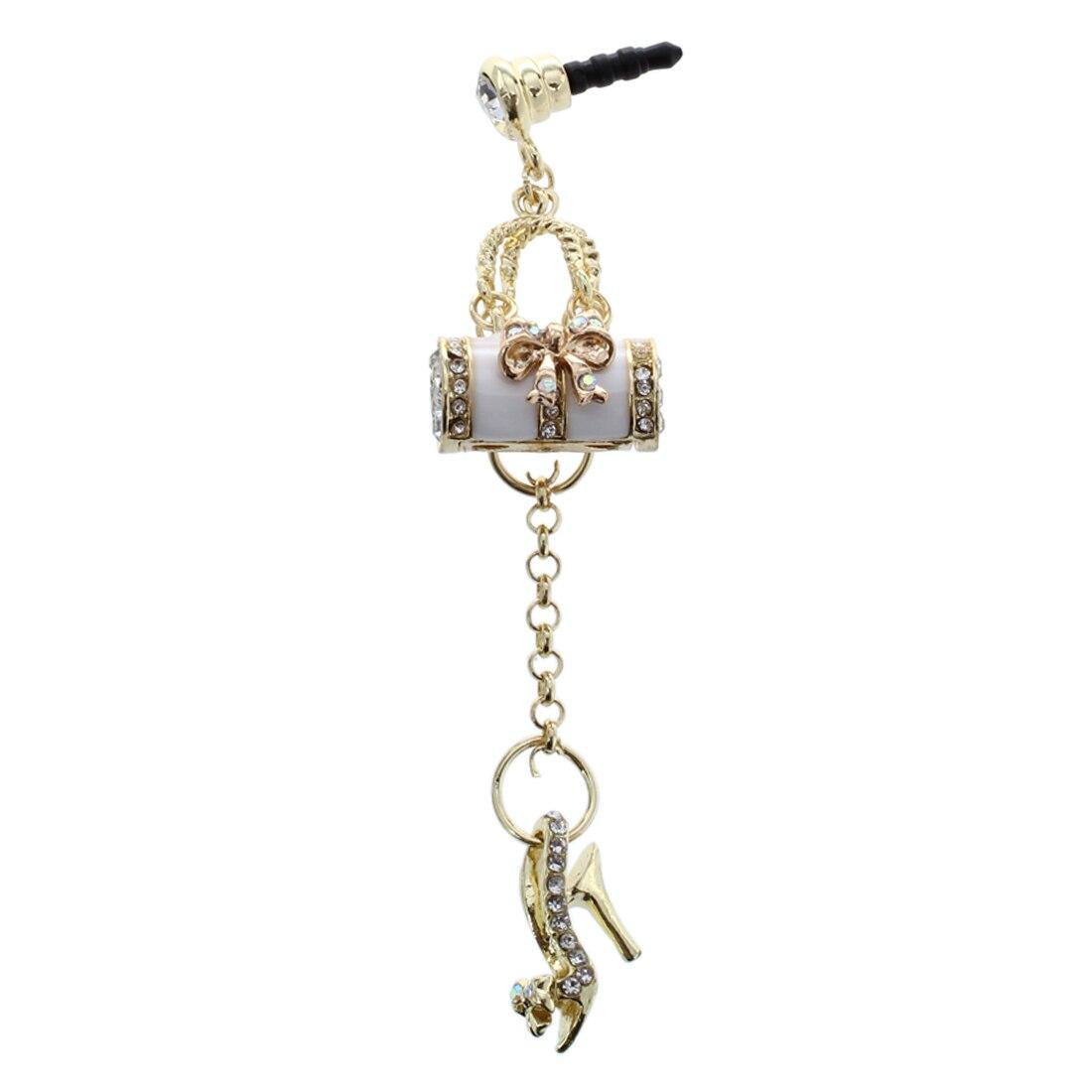 Белый 3.5 мм универсальный прекрасный Bling Crystal Стразы на высоком каблуке Обувь и сумочка против пыли Разъем для наушников + хороший брелок