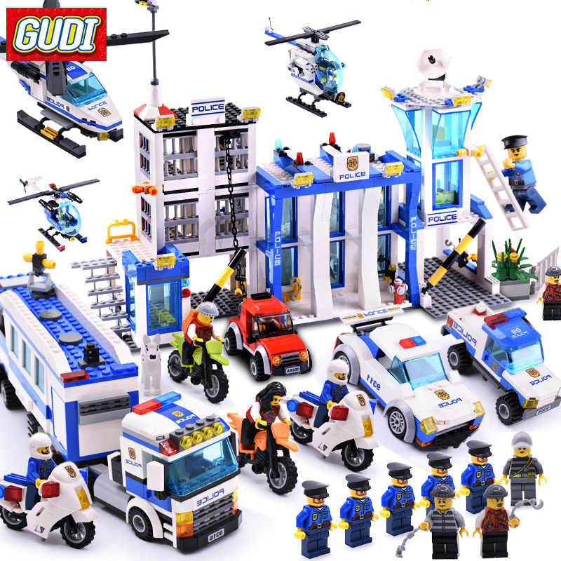 GUDI City Police Series Building Blocks Compatible Legoa City Helicopter Figures Block Assembled Toys Educational Children Toys