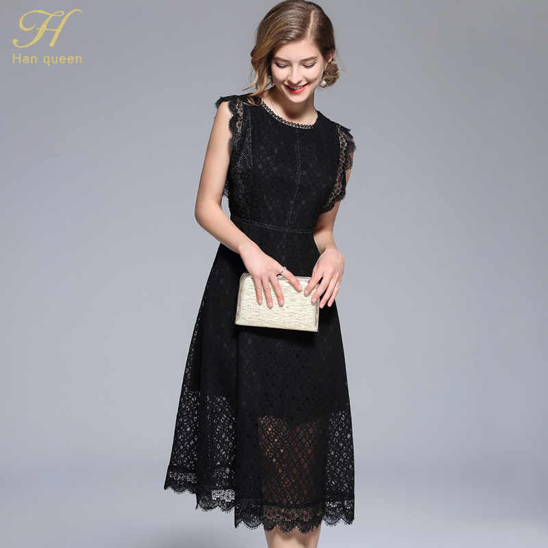a3f765fa63a8c ... H Han Queen Women Elegant Mesh Patchwork Black Lace Dress New Arrival 2018  Autumn O- ...