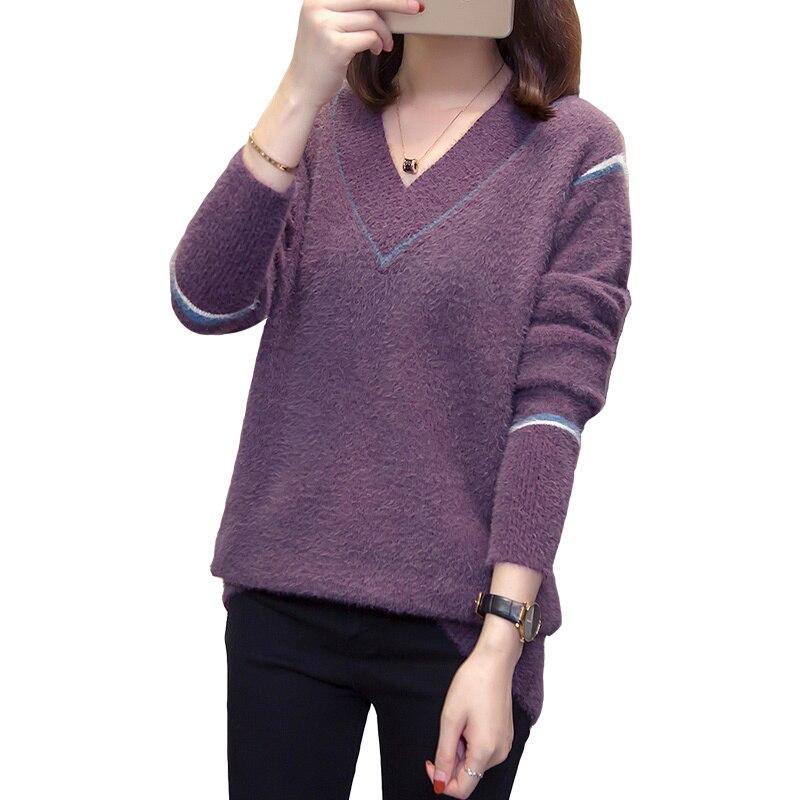 Nkandby Plus Size Cashmere Pullover Women Sweater 2019 Autumn Winter Korean V Neck Loose Mohair Jumper Oversize Ladies Knitwear