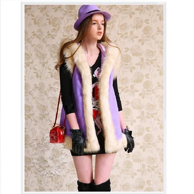 Original Women Clothes New Fashion 2016 Brand Autumn Winter Slim Fur Collar Plus Size Long Wool Women Vest Coat Jacket