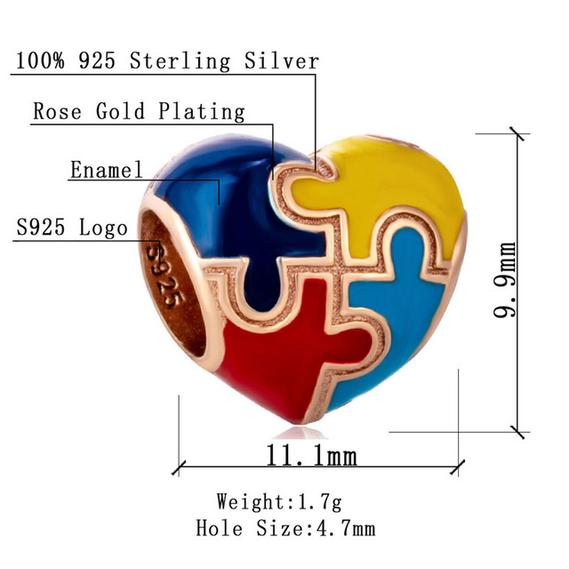 Autentyczne 925 Sterling silver srebrny koralik wiedzy na temat autyzmu Puzzle sztuka kolorowe wisiorek emaliowany urok pasuje Pandora bransoletka biżuteria prezent