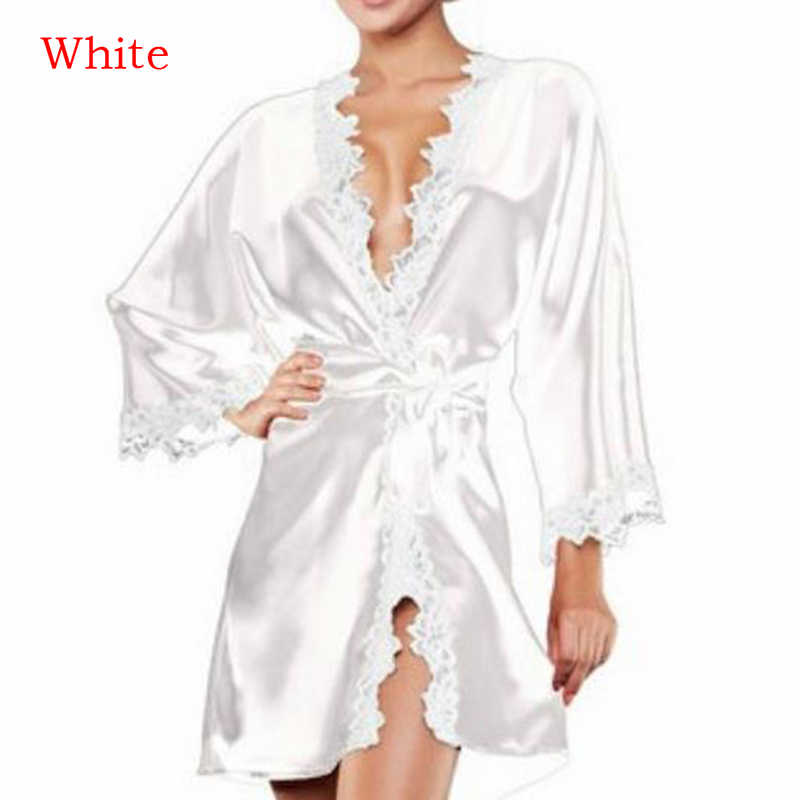 セクシーなウェディングドレッシングガウンレースシルク着物浴衣女性ショートサテン花嫁ローブ夏の花嫁介添人ナイトウェア