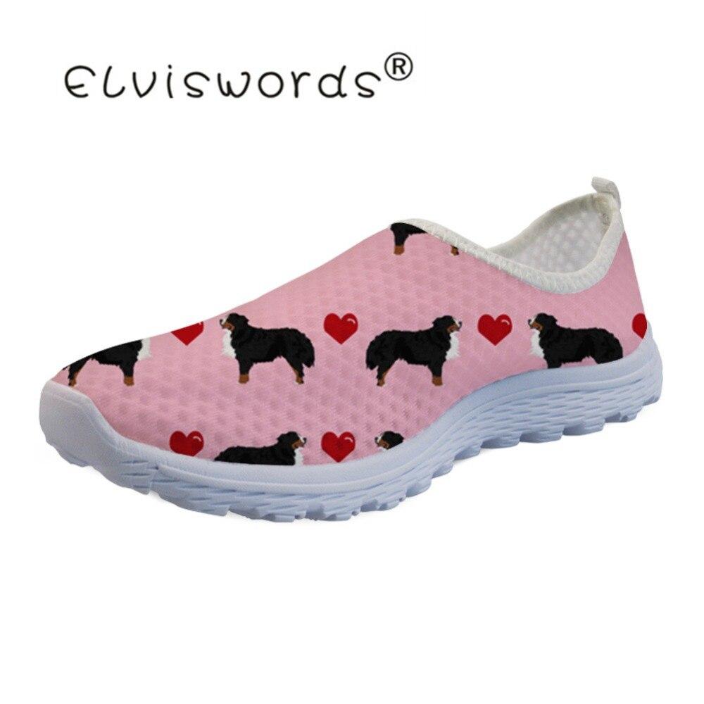 ELVISWORDS Love Bernese Dog Casual Shoes Air Women's Summer Ladies Loafers Women Slip On Shoes Mocassim Feminino Dropshipping