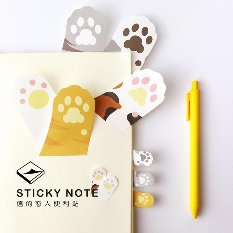 30 Pages Kawaii Cute Cat Meow Paw Memo Pads Marker Message Sticky Notes Decor School Office Supply Stationery