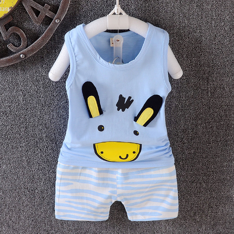 Multicolored Newborn Baby Boy Clothes Cute Short Sleeve T-Shirt + Pants 2pcs Summer / Spring Boy Clothing Set