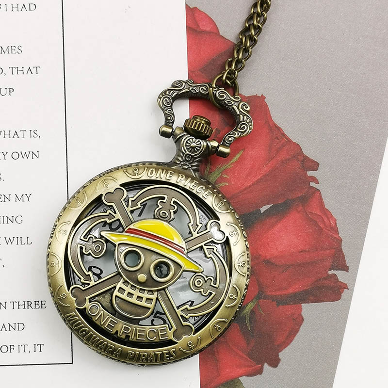 Vintage Bronze ONE PIECE Hollow Carving Steampunk Unisex Quartz Pocket Watch Necklace Pendent Fob Watches Men Women Watch