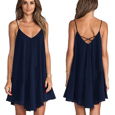 Sexy Blue Dress New Arrival Women Summer Mini Dress Fashion V Neck  Sleeveless Strappy Chiffon Casual  Dress Size 6-20