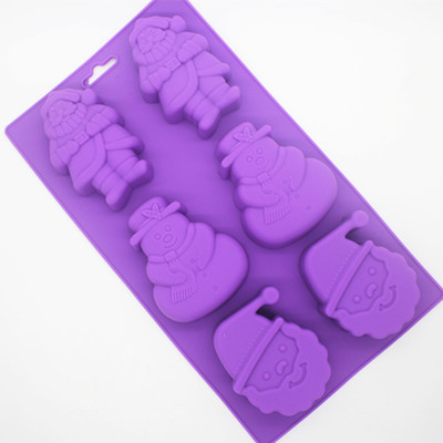 Silicone Santa Claus Snow man Cake Chocolate Soap Pudding Jelly Candy Ice Cookie Biscuit Mold Mould Pan Bakeware Wholesales