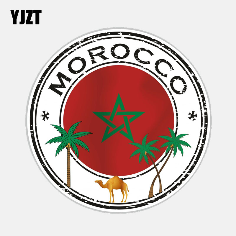 YJZT 13.3CM*13.3CM Creative Car Sticker Body Morocco Flag Motorcycle PVC Decal 6-2713