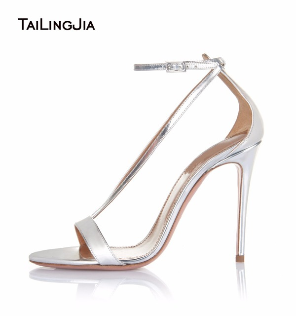 9d85e080b82 Women Metallic Patent Extreme High Heel Sandals Sliver Ladies Covered Heels  Elegant Mirror Leather Strappy Wedding Shoes 2017