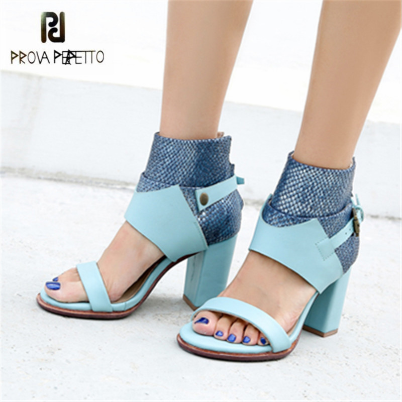 Prova Perfetto Blue Gladiator Sandals Chunky High Heels Women Genuine Leather Sandalias Mujer Sexy Rubber Shoes Women Pumps prova perfetto women lace up gladiator sandals chunky high heels hollow out women platform pumps sandalias mujer stiletto