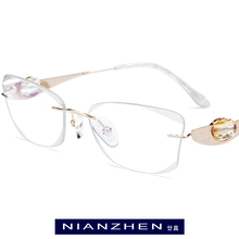 B Wire Titanium Eyeglasses Frame Women Luxury Diamond Trimming Cut Frameless Rimless Myopia Optical Glasses Frames Eyewear 7715 finished with ultralight titanium rimless glasses frames custom diamond trimming glasses frame men and women of color 103
