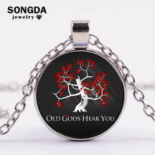 SONGDA Retro Game Of Thrones Chain Necklace Minimalism Black OLD GODS HEAR YOU Quote Glass Cabochon Pendant Necklace Handicrafts(China)