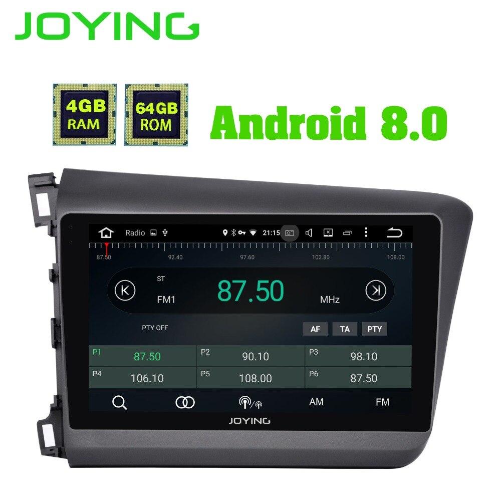 JOYING 9 pouce Octa base Android 8.0 Autoradio DVD lecteur 4g RAM 64g Stéréo Pour Honda Civic 2012-2015 Soutien DVR TPMS OBD Caméra