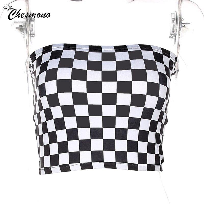 HTB1bLzGXnqWBKNjSZFAq6ynSpXad - FREE SHIPPING Black&White Plaid Sexy Strapless slim Tube Top Checkboard JKP393