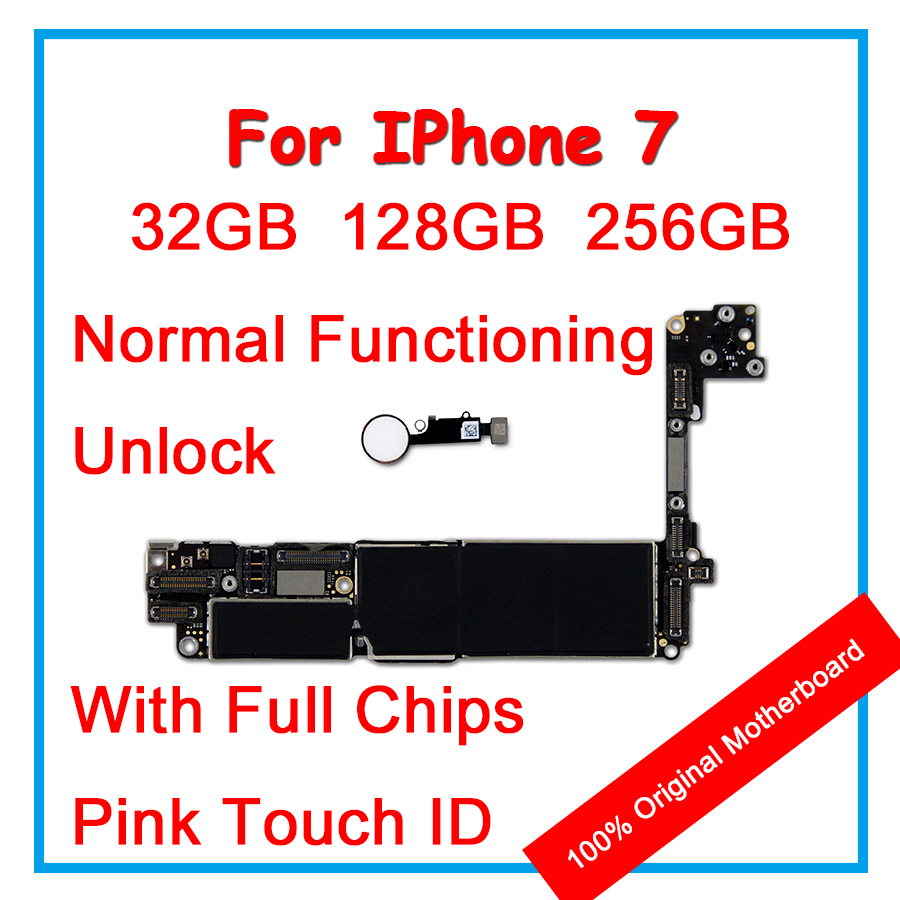 32GB 128GB 256GB For IPhone 7 Motherboard 100% Original Unlock Mainboard With Pink Touch ID Logic Board With Chips For Replace