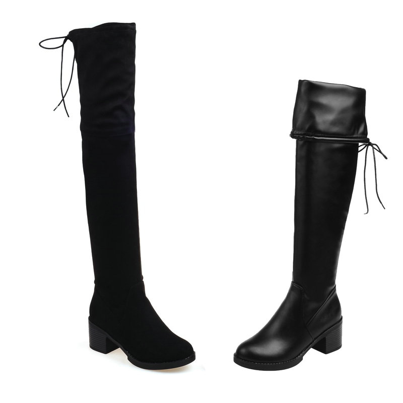 купить 2018Women Boots Black Slip On PU Leather Women Shoes Square High Heel Sexy Over The Knee Boots Women Motorcycle Boots Size 34-43 дешево