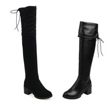 Black Slip On 2016 PU Leather Women Shoes Square High Heel Sexy Over The Knee Boots Women Motorcycle Boot Size 34-43