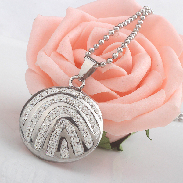 316L Stainless Steel Crystal Round Pendant Fashion necklaces