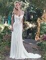 Estilo griego Simple Beach Wedding Dresses Desmontable 2017 Rebordear Watteau Tren Largo Vestido de Fiesta Elegante Por Encargo de La Gasa de Boho