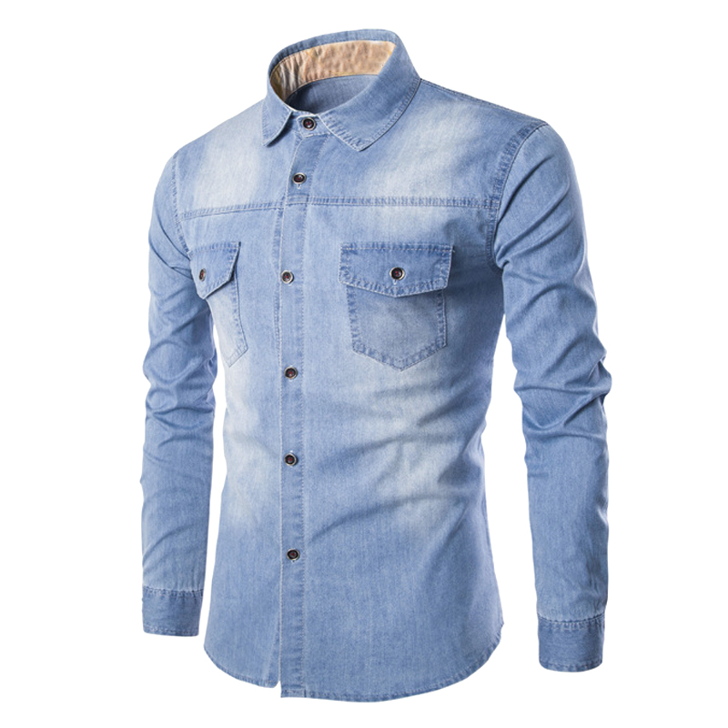 2cdfd001991 2017 Long Sleeve Washed Blue Denim Shirts Men Casual Slim Fit Tops Man  Cowboy Jeans Shirt Cotton Camisa Masculina Chemise Homme-in Casual Shirts  from Men s ...