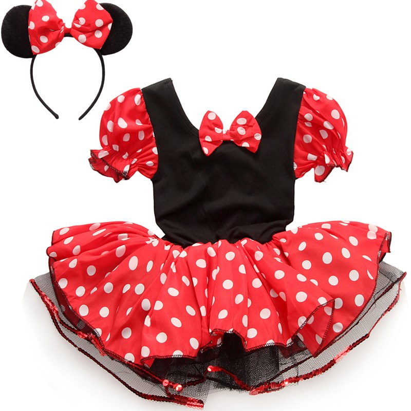 2016 Kids Gift Minnie Mouse Party Fancy Costume Cosplay Girls Ballet Tutu Dress+Ear Headband Girls Polka Dot christmas Dresses