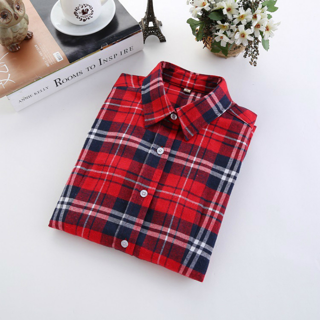 Checkered Shirt Women's Casual Style Women's Blouse With Long Sleeve Flannel Shirt Plus Size Cotton Blusa 4