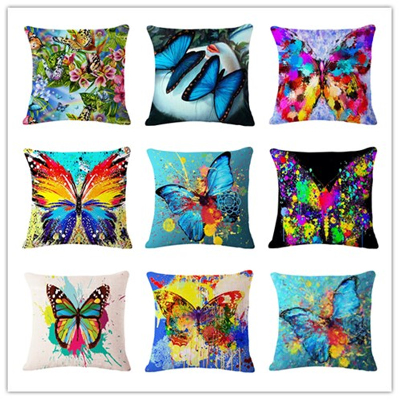 Colorful Butterfly Printed Modern Minimalist Linen Cotton Cushion For Sofa Home Decorative Pillow Throw Almofadas Cojines