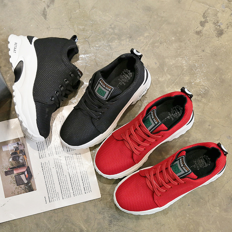 Femmes Up Xjrhxjr Marque Chaussures red Printemps Pour Casual Mode Lace Black Automne Appartements Sneakers 2019 5PAxwA