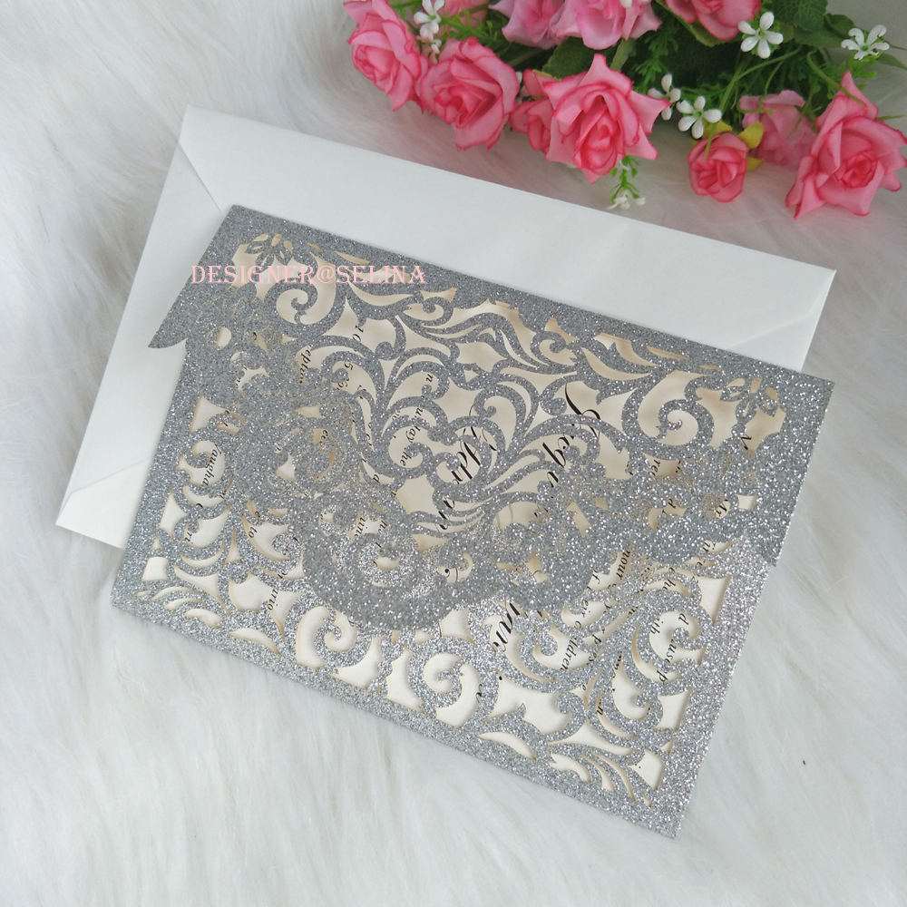 Wedding Invitations Pocket Style: 50pcs Pocket Style Silver Glitter Laser Cut Wedding