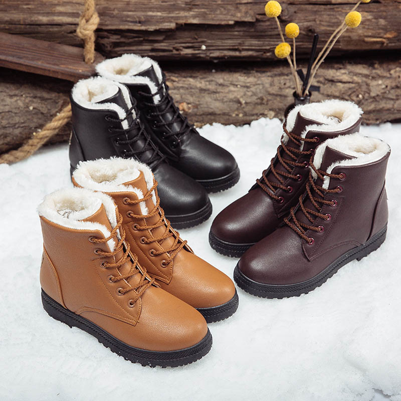 Brand Autumn Winter Fur Warm Women Snow Boots Black Brown PU Waterproof Running Shoes For Female Plus Size 44 Sports Ankle Botas