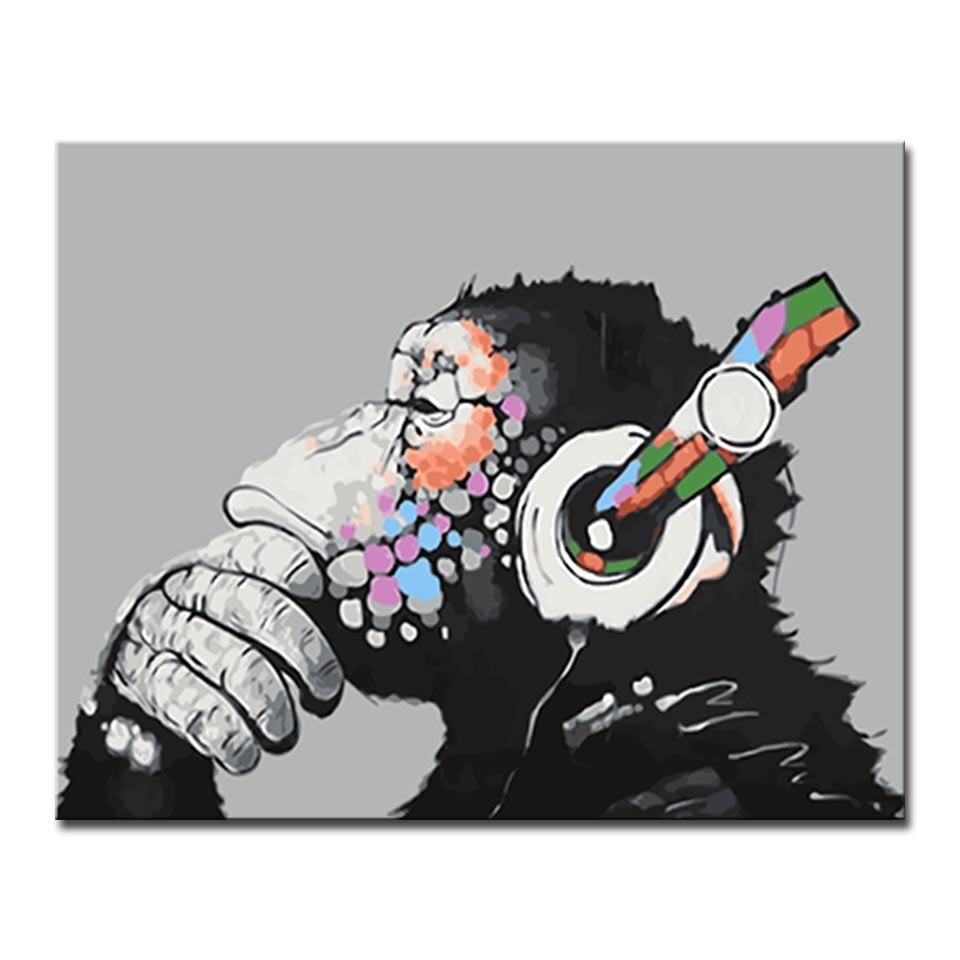 US $8 89 OFF Dekorasi Di Atas Kanvas Cat Minyak Mewarnai Gambar Yang Unik Monyet Digital Diy Minyak Lukisan Dengan Angka Bingkai Poster Dinding