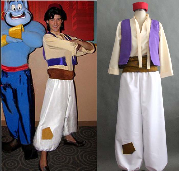 2017 Free Shipping Aladdin Lamp Prince Aladdin Costume For Adult Man Halloween Party Movie Cosplay Costume Custom Made