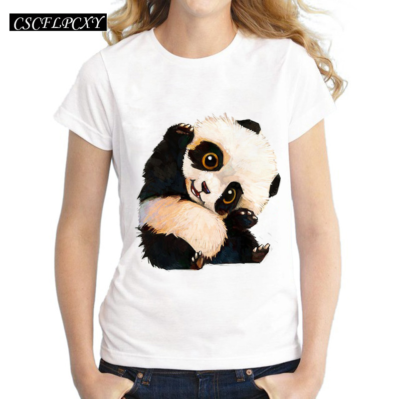 Harajuku Panda Print T <font><b>Shirt</b></font> <font><b>Women</b></font> Tshirt 2016 Summer Style Short Sleeve Ladies Tops T-<font><b>shirt</b></font> Femme Casual White Tees Cartoon image