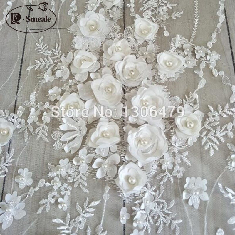 White Wedding Dress Lace Fabric 3D Chiffon Flowers Nail Bead High End European Lace Fabric Free