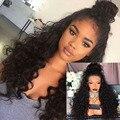 Kinky Вьющиеся 180 Плотность Полный Парик Шнурка Человеческих Волос С Волосами Младенца волосы Перуанский Девственница Кружева Фронтальной Парик Вьющиеся Человеческих Волос Полный Шнурок парики