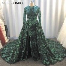 SuperKimJo Abiti Da Cerimonia Sera 2019 Detachable Skirt Evening Dresses Long Sleeve Sequin Flower Arabic Formal Dress