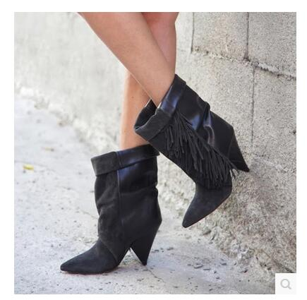 Women Autumn Winter Fringe Ankle Boots Sexy Hoof Heel Pointed Toe Tassel Bootie Turn-over Dress Shoes High Quality Short Boot women winter suede colorful ankle boots fringe rivets short boots square heel women fashion winter tassel boots shoes