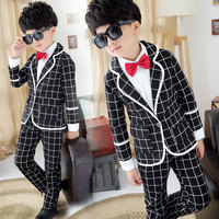 Boy Sets Spring Toddler Boys Clothes suits Infant Formal Gentleman Tie Bow Plaid Suits+Shirts+Pants Kids Clothes Sets Hot Sale
