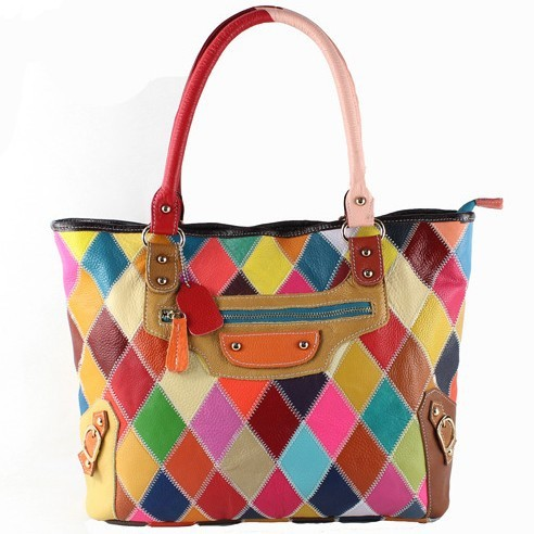 Fashion Ol Style Colorful Patchwork Leather Women Handbags Block Color Bags Genuine 2017 New